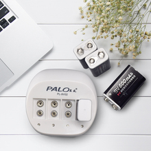 Palo Super Quick Power 4 slots 9V Battery Charger for 9v 6f22 Li ion rechargeable battery LED display Smart Charge
