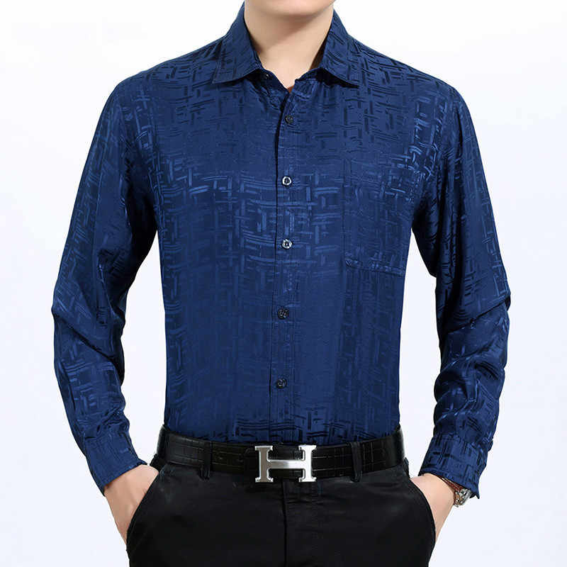 Zomer 100% Zijde Mannen Shirt Lange Mouw Wit Overhemd Lente Formele Shirts Mannen 2020 Heren Losse Camisa Masculina 3033 KJ1948