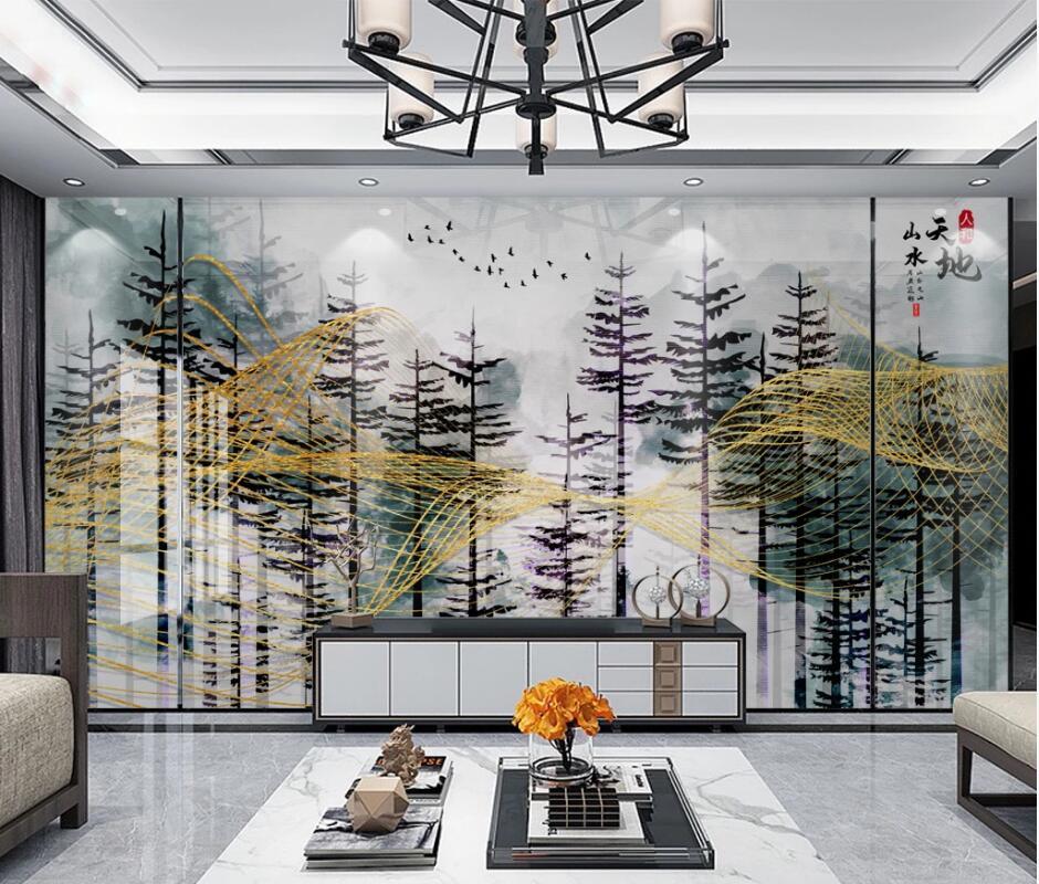 AINYOOUSEM Modern wood TV background wall papier peint papel de parede wallpaper 3d wallpaper stickers