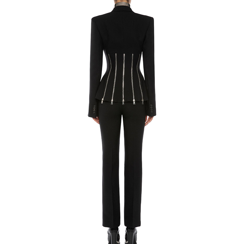 Max Spri 2019 New Fashion Punk Style Two Piece Set Women V neck Long Split Sleeves Zipper Decoration Blazer Straight Pants Suits - 3