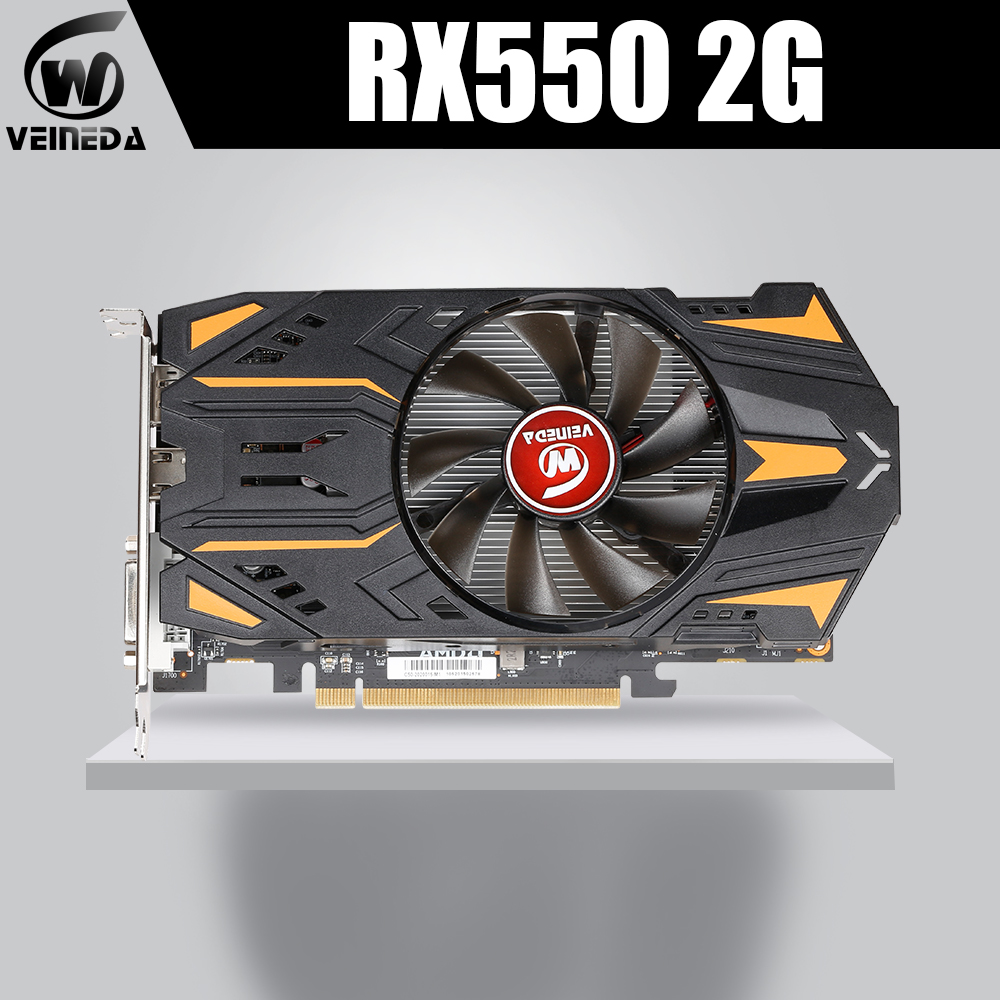 VEINEDA Video Card RX550 2GB GDDR5 Graphics Cards For AMD <font><b>RX</b></font> 500 series <font><b>RX</b></font> <font><b>550</b></font> 2G D5 Radeon RX550-2GB DisplayPort HDMI DVI image