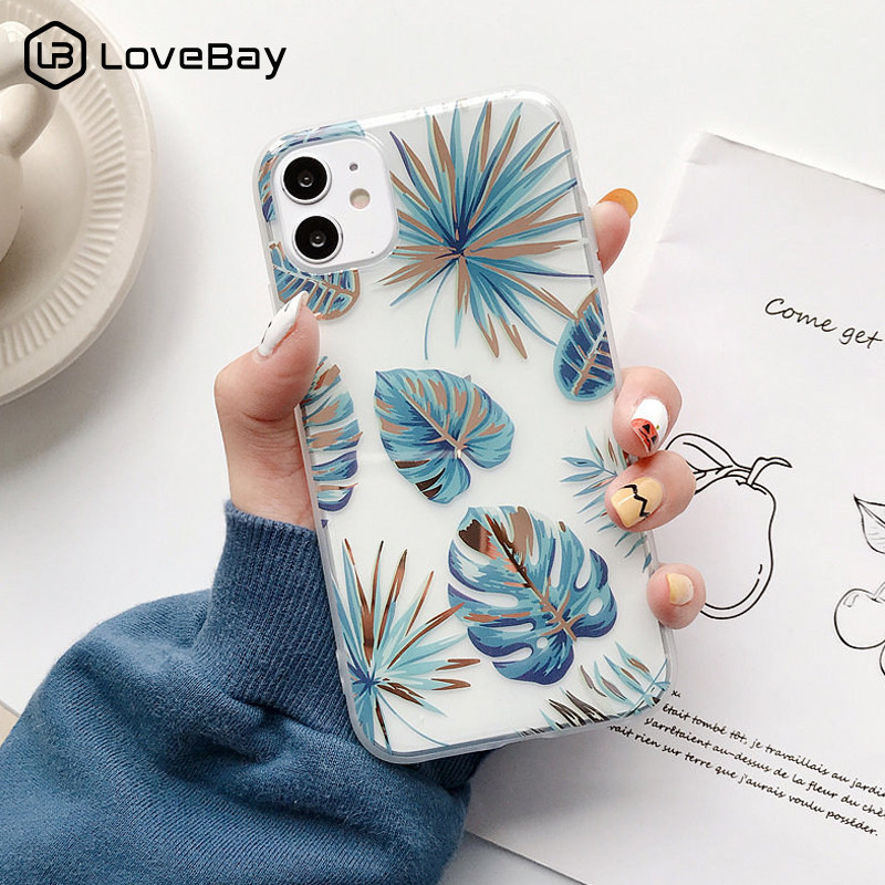 Lovebay Transparent Flowers Leaves Phone Case For iPhone 11 12 Pro X XR XS Max 8 7 Plus SE2020 Plating Flamingo Soft IMD Cover