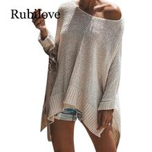 Rubilove Candy Color Sweater Women Casual Loose Streetwear Off Shoulder Pullovers Female Ladies Knitted Autumn Winter Ne