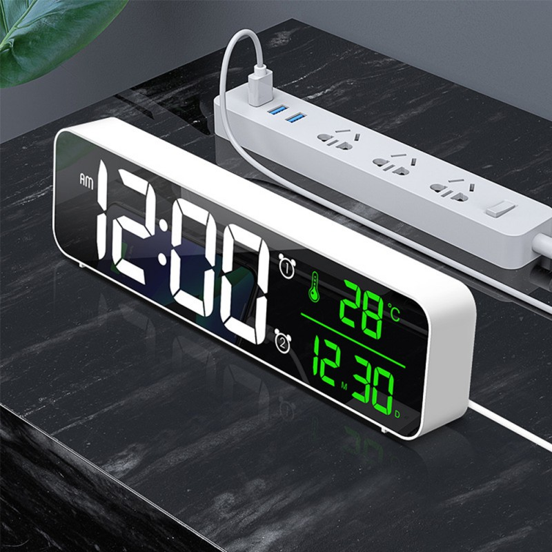 LED Digital Alarm Clocks With Snooze Digital Temp Time Music Dual Clock With USB Charger Large Digit Display Brightness Dimmer