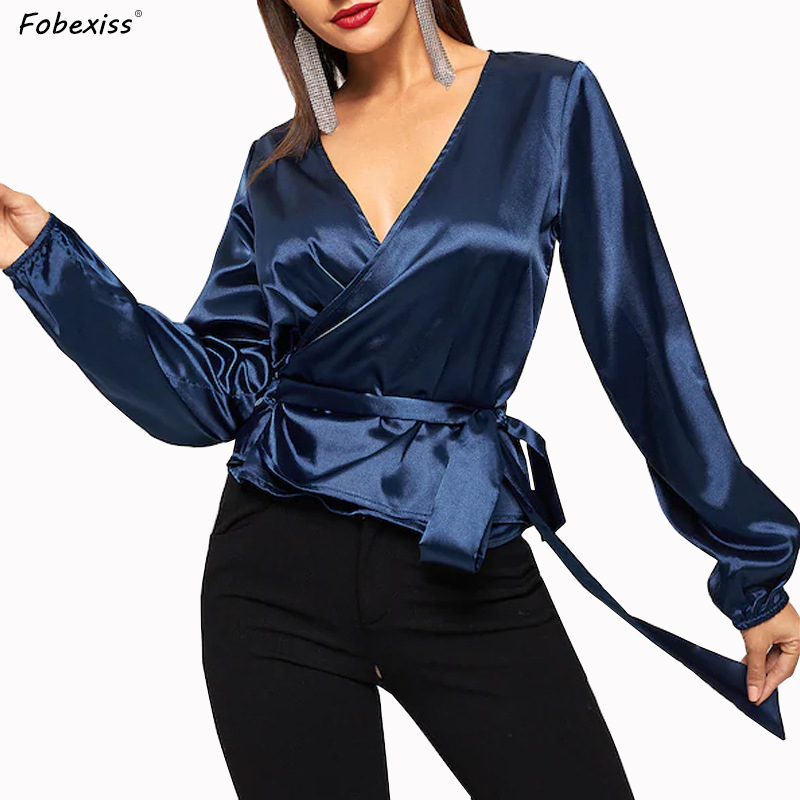 Blue Satin Blouses Women Long Sleeve Sexy Deep V Neck Glossy Shirts Plus Size Sashes Slim Waist Bodycon Tops