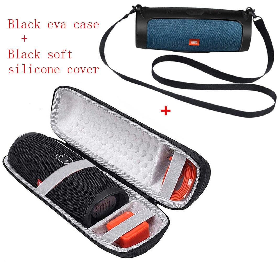 Bolsa de transporte em EVA e silicone 2 em 1, bolsa rígida de EVA com capa de silicone macio para carregador JBL e alto-falantes bluetooth Charge 4