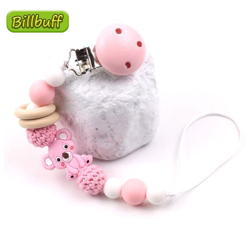 Cartoon Baby Teether Koala Pacifier Silicone Bead Binky Clip Pacifier Chain Chew Baby Teether Toys Dummy Clip Nipple Holder Gift