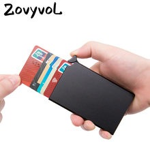 ZOVYVOL NEW Mini Business Card Case High-grade Alumina Mult-card Holder Solid Color Automatic Pop-up Anti-theft Bank Card Box(China)