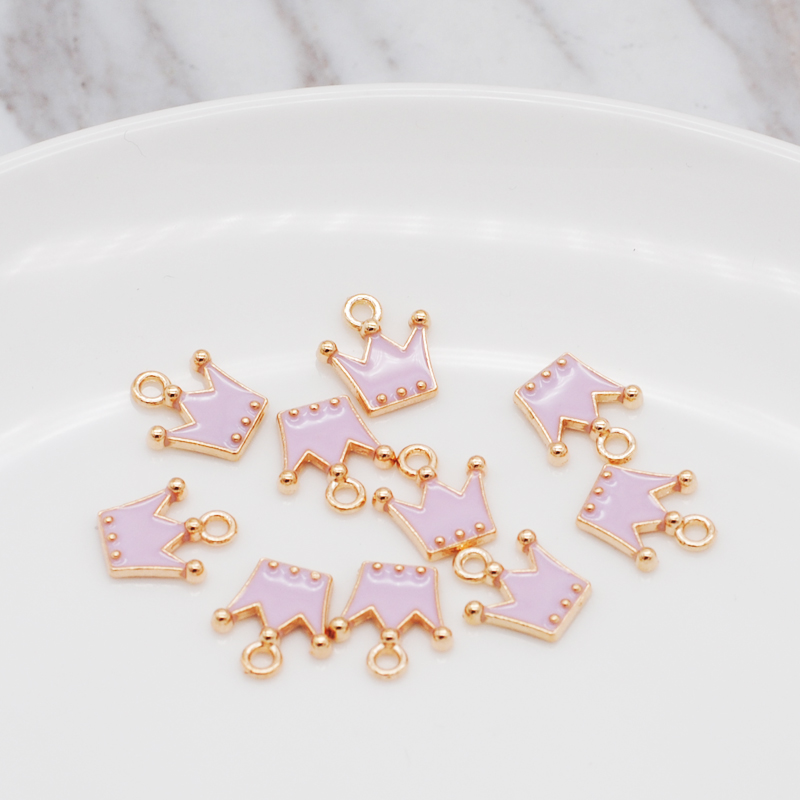 30pcs/pack 11*12mm Gold Color Tone Charm Pendants Alloy Metal Enamel Charms For DIY Jewelry Making 6
