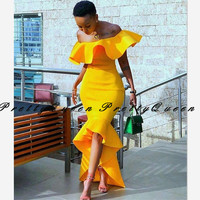 2020 Mermaid High Low Mermaid Bridesmaid Dresses Ruffles Off Shoulder Gold Yellow African Women Long Prom Dress Wedding Party
