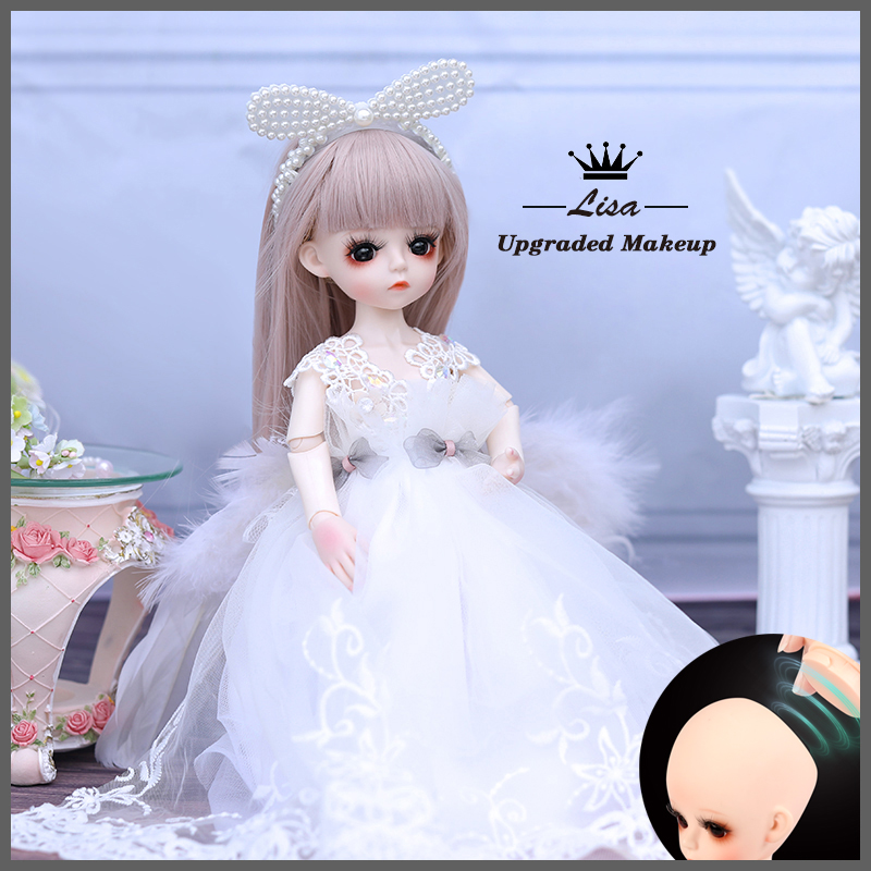 1/6 BJD Doll 18 Ball Jointed Dolls 30CM Girls Doll With White Dress Wig Shoes Makeup Toys For Girls Birthday Gifts Collection 7