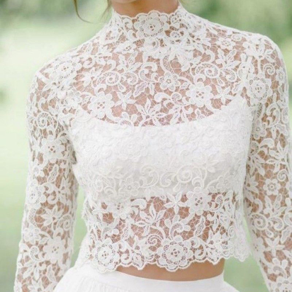 Long Sleeve Wedding Bolero Lace Bridal Wraps For Wedding Party Prom High Neck Ivory Bride Jacket Bolero Shrug Custom