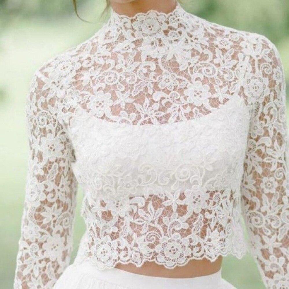 Long Sleeve Wedding Bolero Lace Bridal Wraps For Wedding Party Prom High Neck Ivory Bride Jacket Bolero Shrug Custom