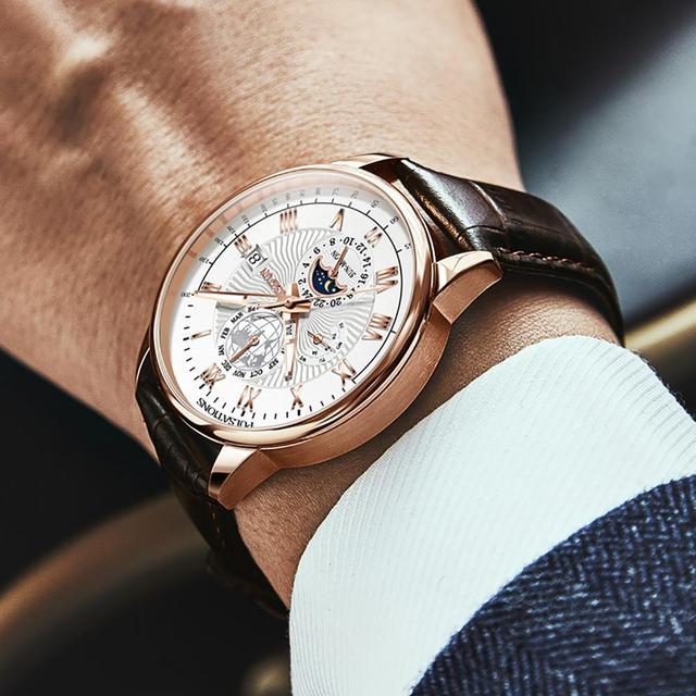 Men Mechanical Watch Top Brand Luxury Automatic Watch Leather Waterproof Sports Moon Phase Wristwatch relogio masculino 3