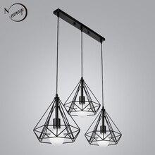 Винтаж 3 головы сочетание черный Кованое железо подвесной светильник E27 220V 110V свет для кухни гостиной спальни коридор, Ресторан
