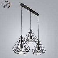 Vintage 3 head combination black wrought iron pendant lamp E27 220V 110V light for kitchen living room bedroom aisle restaurant