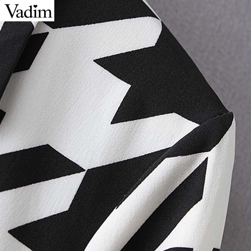 Vadim women elegant V neck mini dress long sleeve female casual Houndstooth print chic dresses stylish vestidos QC611