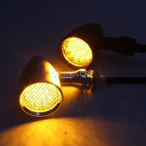 Image 5 - 1pair Retro Bullet Black Grid Motorcycle Turn Signal Light LED Brake Light Metal Shell Blinkers Flashers for Harley Honda Yamaha