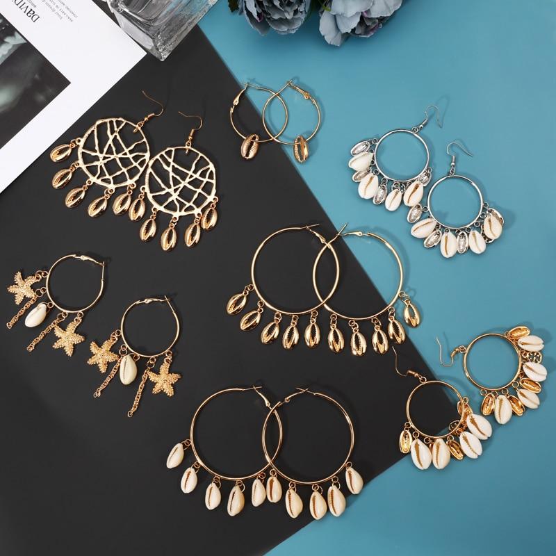 New Sea Shell Pendant Earrings Gold Statement Earrings For Women Weddings Party Irregular Geometric Earring Jewelry Gift