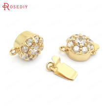 (37838)2 шт диаметр 10 мм 24k золото цвет латунь и циркон ожерелья