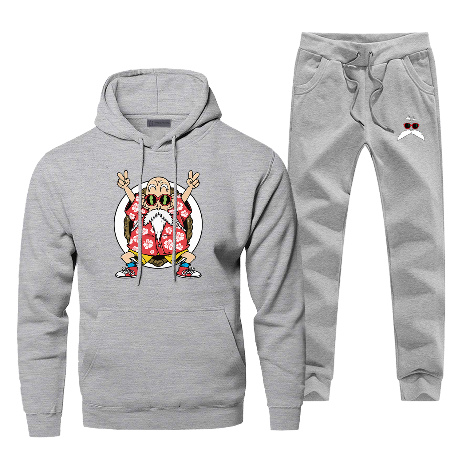 Dargon Ball Men Hoodie Male Pants Set Sweatshirt Master Roshi Mens Hoodies Sweatshirts Sets Two Piece Pant Pullover Funny Coat