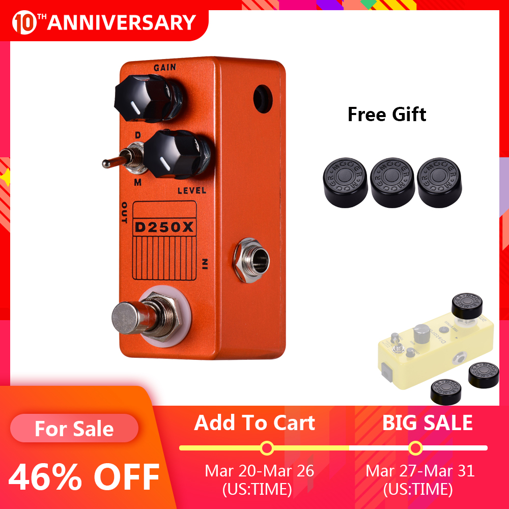 MOSKY D250X Mini Electric Guitar Effects Pedal Overdrive Preamp Effect Pedal 2 Models Full Metal Shell True Bypass Guitar Pedal