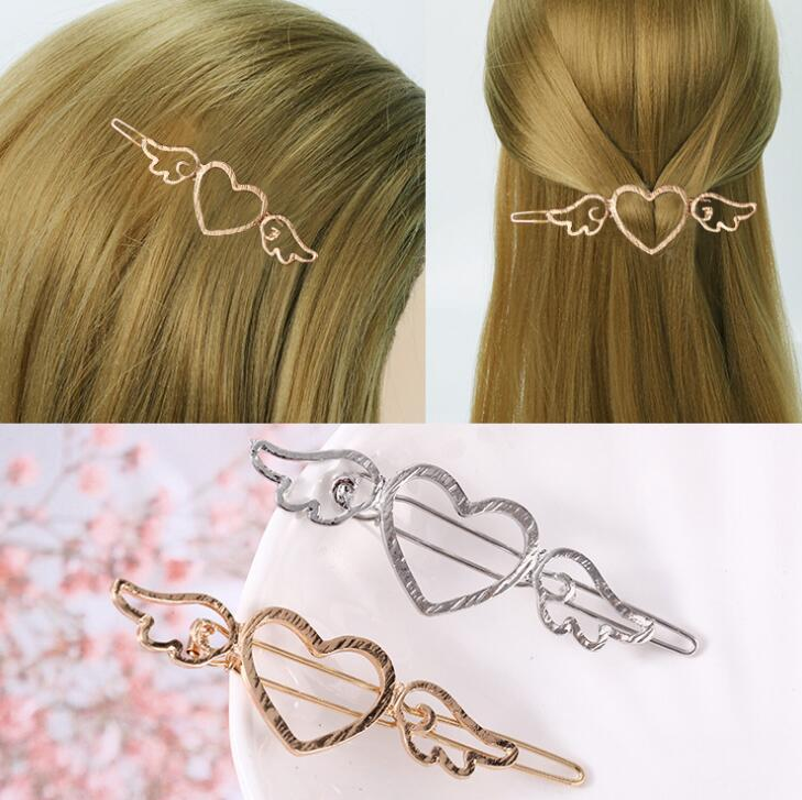 1pcs Girl Metal Angle Wings Love Heart Barrette Clips Side Hairpins Hair Tools Hair Beauty Styling Accessories Free Shipping
