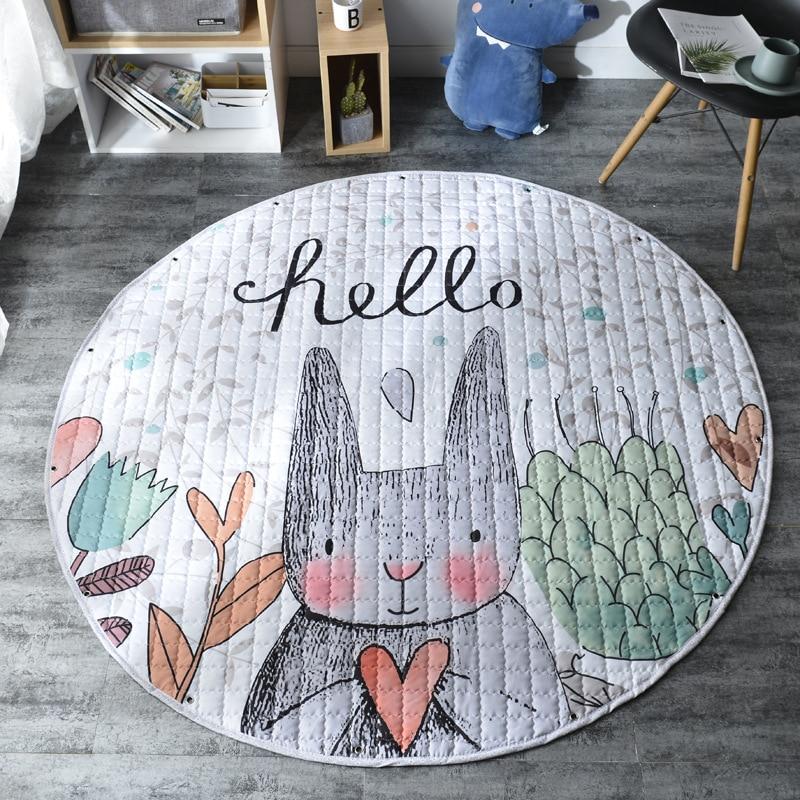 H74651560d07241cf99dbdd67e1e06128P Kid Soft Carpet Rugs Cartoon Animals Fox Baby Play Mats Child Crawling Blanket Carpet Toys Storage Bag Kids Room Decoration