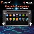 Eunavi 2 Din Android 10 автомобильный Радио мультимедийный плеер Авто Аудио сенсорный экран 4G + 64G DSP WIFI USB GPS навигация 2Din DVD