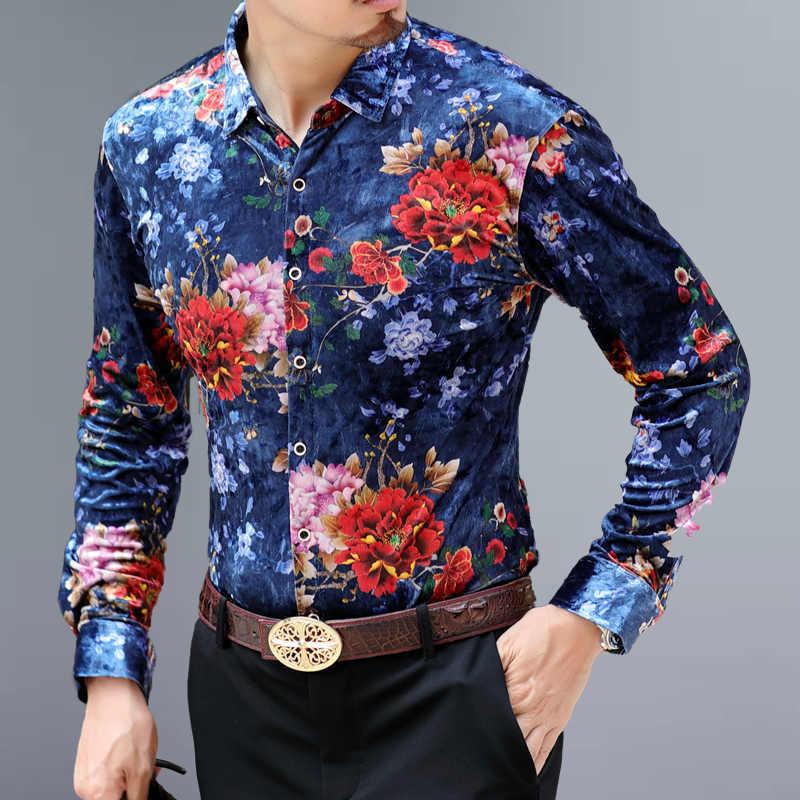 2020 męskie koszule z długim rękawem drukowane fantazyjne  F66p0