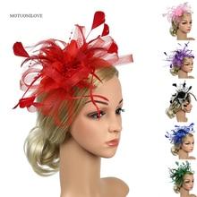 2020 Elegant Wedding Accessories Bride Net Hats Big Flowers White Red Black Fascinator Formal Occasion Women's Headwear