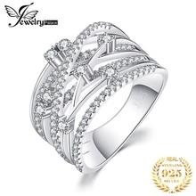 JewelryPalace CZ alyanslar kadınlar için 925 ayar gümüş yüzük istiflenebilir yıldönümü yüzüğü sonsuzluk Band gümüş 925 takı