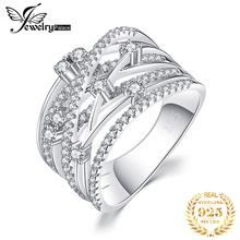 JewelryPalace CZ obrączki 925 srebro pierścionki dla kobiet wieżowych pierścionek jubileuszowy Eternity Band srebro 925 biżuteria