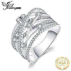 Joyeria Palacio lujoso anillo de cóctel de banda ancha redondo para mujer de Plata de Ley 925 auténtico regalo de joyería de boda