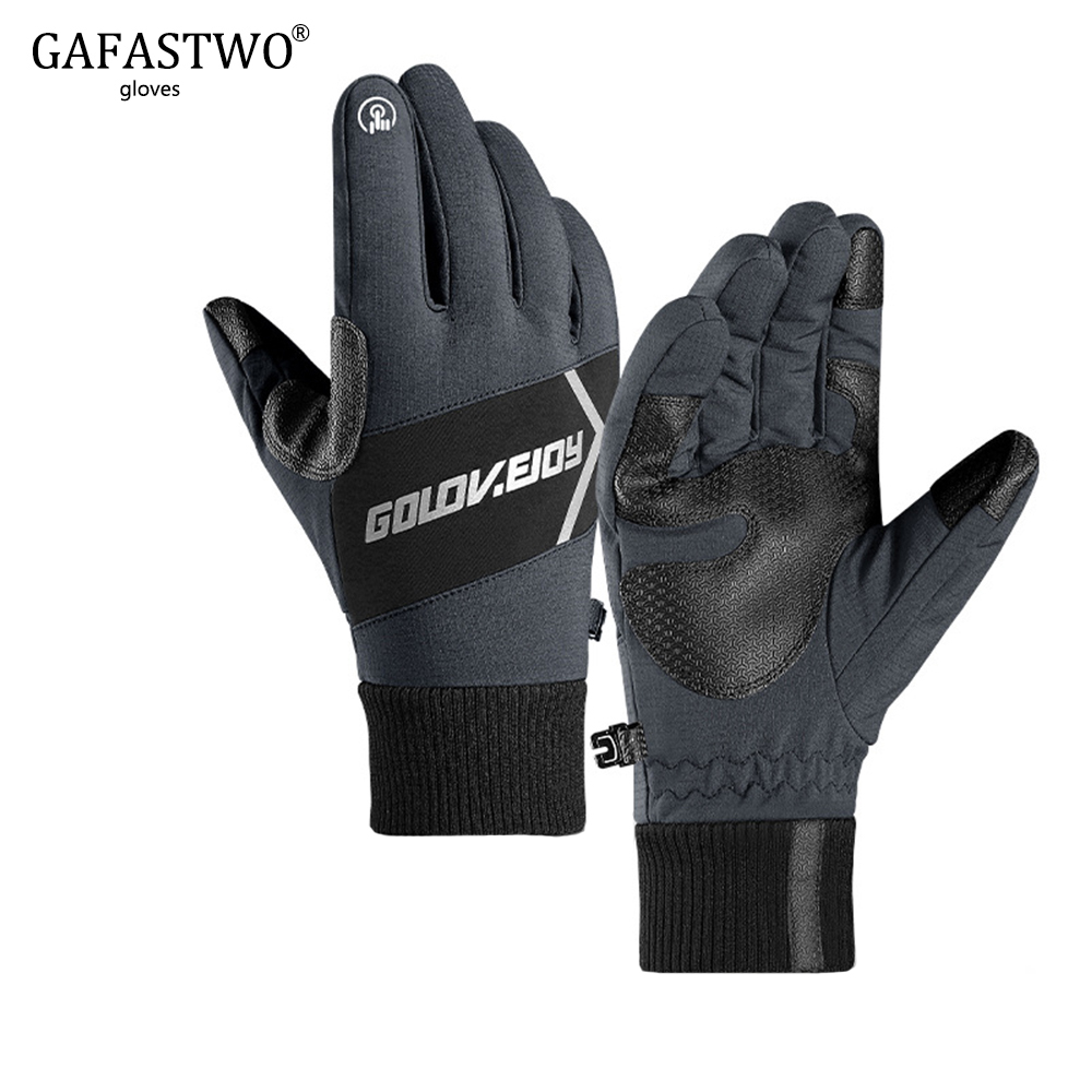 New Winter Ski Gloves Mens Fashion Ladies Outdoor Waterproof Windproof Plus Velvet Thick Warm Night Riding Reflective Gloves