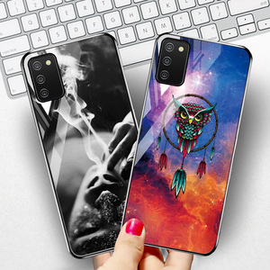 """Image 2 - Tempered Glass Case For Samsung A02s Cases Silicon Painted Capas For Samsung Galaxy A02s A 02s SM A025F 6.5"""" Hard Cartoon Bumper"""