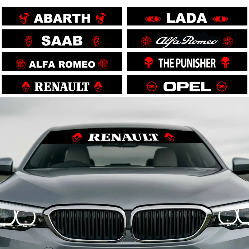 1pcs Car Styling Sunshade Front Rear Windshield Decal Auto Car Sticker For Alfa Romeo Abarth Lada Saab Renault Opel Punisher