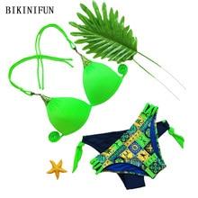 цены New Sexy Solid Color Bikini Women Swimsuit Geometric Print Swimwear 38-42 Girl Strappy Bathing Suit Backless Halter Bikini Set
