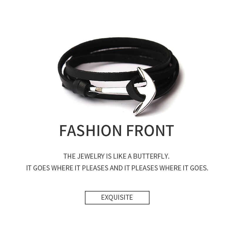 HOMOD 2019 nowych moda tkane wielowarstwowe kotwica bransoletki mężczyźni nadzieja kotwica bransoletka Pulsera granatowy ręcznie skórzane bransoletki
