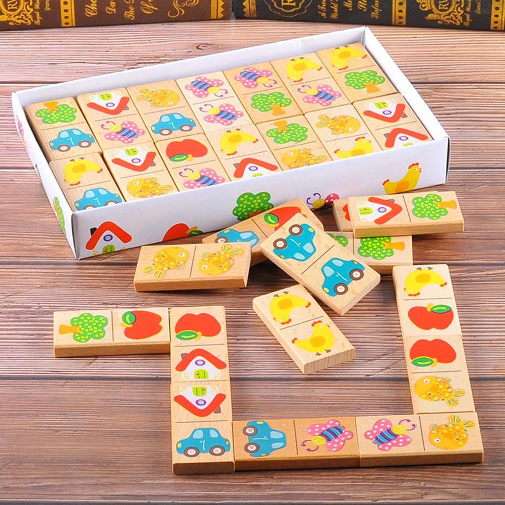 28Pcs/Set Wooden Fruit Car Pairing Domino Puzzle Blocks Children Educational Toy Kid Gift