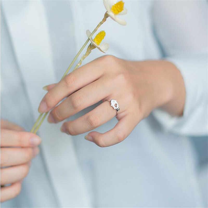 Real 925 Sterling Zilver Minimalistische Bladeren Opening Ring Voor Elegante Vrouwen Party Trendy Ring Fijne Sieraden Accessoires Gift