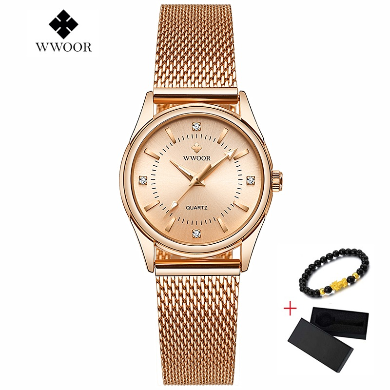 Reloj Mujer New WWOOR Women Bracelet Watches Luxury Brand Ladies Dress Watch Steel Mesh Band Casual Rose Gold Quartz Wristwatch