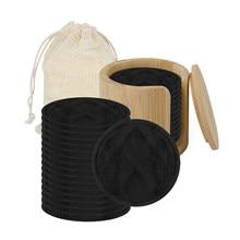 16/20 pçs reutilizável fibra de bambu preto branco lavável rodadas almofadas maquiagem remoção almofada de algodão limpeza almofada facial ferramenta nova a953682