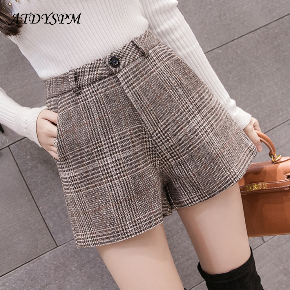 New A-Line Woolen Shorts Women Classic Vintage Wild Plaid Shorts Ladies Elegant High Waist Wide Leg Shorts Students Casual Short