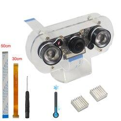 Kit de câmera raspberry pi 130 graus câmera visão noturna + luzes infravermelhas dissipadores de calor ffc para raspberry pi 4 modelo b/3b +/zero