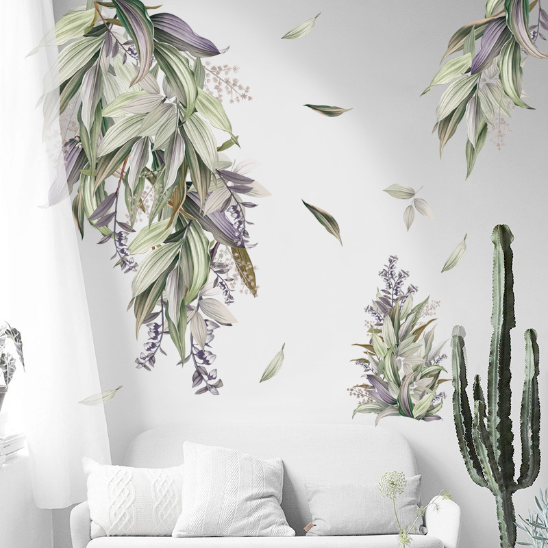 Nordic Style Removable Leaves Wall Stickers Bedroom Living Room Decoration Self-adhesive Door Windows Decals Home Decor