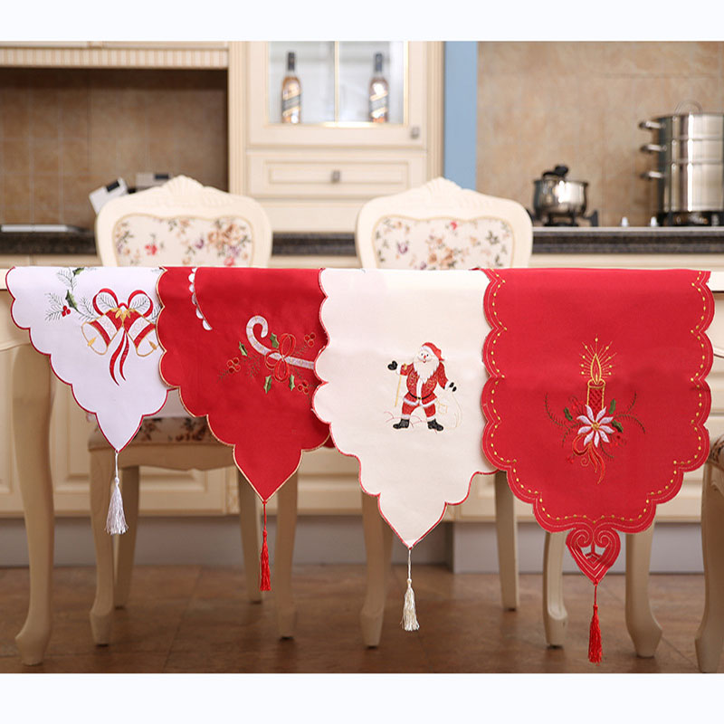 40*170cm Christmas Runners Vintage Embroidered Fabric Santa Claus Tapestry Christmas Table Runner Mat Christmas Supplies