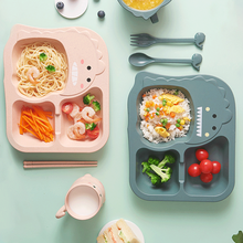 Baby Tableware 6Pcs Set Kids Dinner Plate household creative cartoon Fork Cup Drop-resistant Children Feeding Dishes for gift