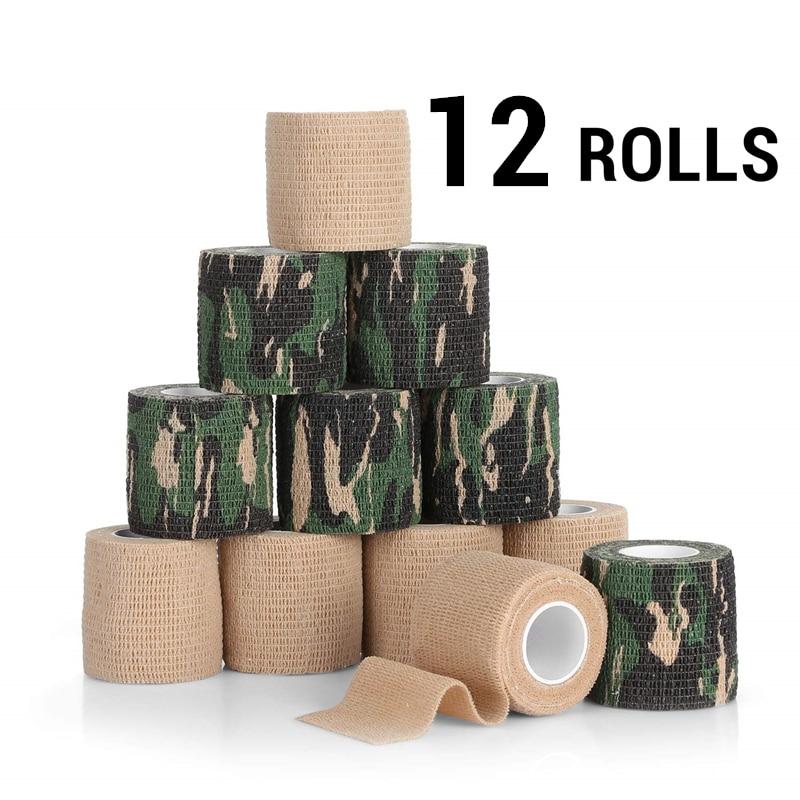12 Rolls Self-Adherent Wrap Sports Elastoplast Tapes Self-Adhesive Strong Elastic Medical Tape Breathable Athletic Bandage