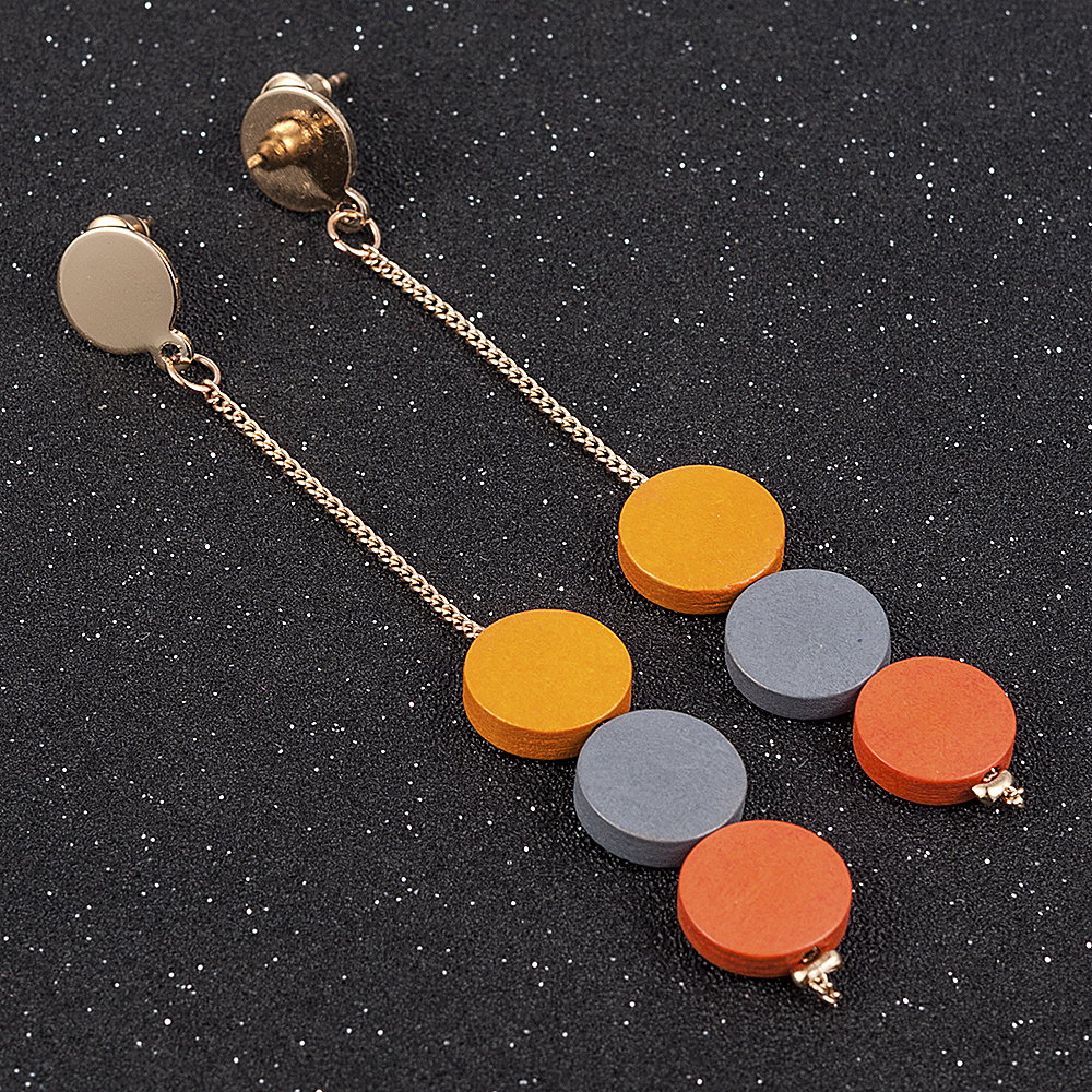 Fashion 3 Color Wood Tassel Earring For Women Drop Earrings Pendientes Mujer Moda for Women Earrings Personality Gift Jewelry